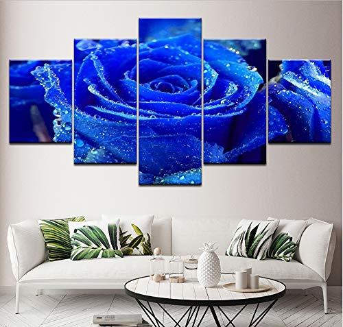 GLORIOUS.YY Leinwand Bilder Malerei Modular Bilder 5 Panel Edle Dark Blue Rose Rahmen Wand Kunstwerk Hd Gedruckt Poster Wohnkultur Wohnzimmer 100X50Cm
