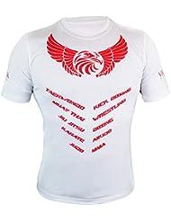 MMA camiseta de y # x2605; para hombre muscular camiseta de gimnasio Camisetas Muay Thai cuerpo edificio Taekwondo Karate Judo Jiu Jitsu Entrenamiento Top & # x2605; Boxeo Lucha Deportes UFC–Valour Strike®, blanco