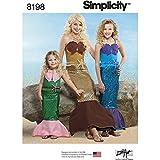Simplicity Pattern 8198del niño, Las niñas 'y Patrones de Costura para Disfraces de Sirena, Color Blanco