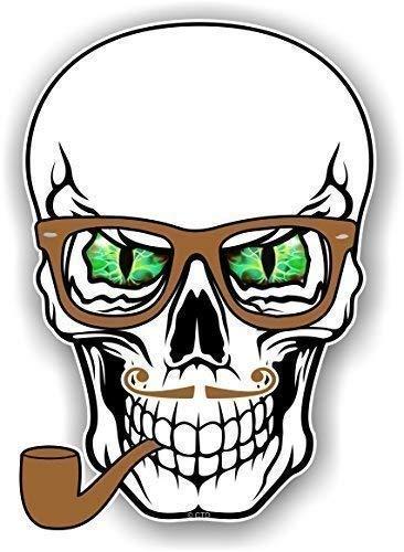 Hipster Stil KOPF Design mit Grün Teufel Eyes Brille & Rohr NEUHEIT Vinyl Auto Aufkleber 100x70mm