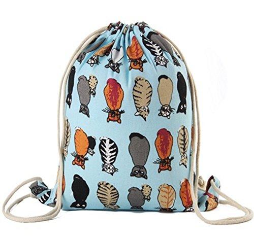 Imagen de  de cuerdas, bolasa con cordón 34 x 41cm saco gym hipster backpack pórtatil plegable para deportes al aire libre gimnasio ciclismo senderismo escuela, gato azul