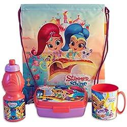 Shimmer and Shine - Set Merenda Scuola Gita 4 pz Sacca, Borraccia, Porta-Merenda e Tazza - Bambina - Prodotto originale