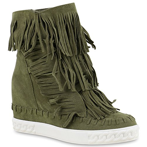 Sneaker-Wedges Damen Fransen Sneakers Ketten Keil Absatz Dunkelgrün