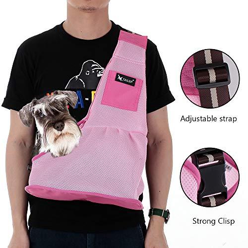 Hylotele Hundeschlinge Träger Mesh Stoff Pet Carrier Verstellbarer Gurt Umhängetasche Hand frei Schlingentasche für kleine Hund Katze Welpen -