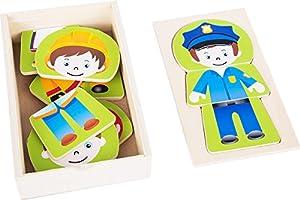 Small Foot 10529Puzzle de Madera, Cuatro Diferentes Boy Profesiones Puede se sorprende, práctica Funda de Caja de Madera para el Almacenamiento o Viaje, Integrado en la Tapa