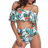 Lastia Damen Bikini Set High Waist Ruffles Bademode Zweiteilige Schulterfrei Volant Crop Bademode Tankini Weiße Blumen L