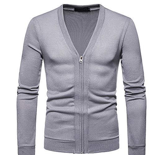 TWBB Strickpullover,Herren Warme Cardigan Coat Pullover Outwear Mit Reißverschluss Mantel Tiefes V Sweatshirt Schlank Oberteile Tops