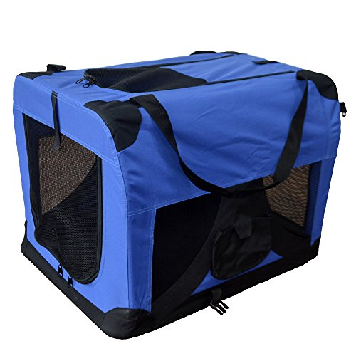 Hundetransportbox Hundebox faltbar Transportbox Autotransportbox Faltbox Transportasche 501-D01 royal blau Grösse: L - 70cm x 52cm x 52cm