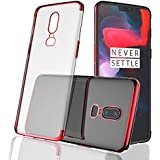 BestTalk Premium Series Shockproof Back Cover for OnePlus 6 (Electroplated Super Case) (Red)