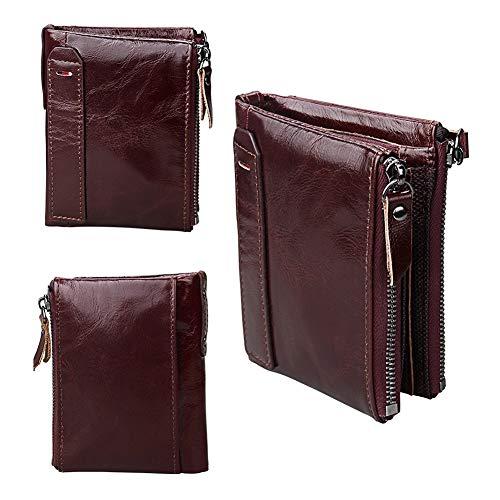 Qiy Mens Wallet, Echtes Leder, ID-Fenster-Kartenetui mit RFID-Blockierung, Doppelreißverschluss, Geldbörse für Herren, Rotbraun -