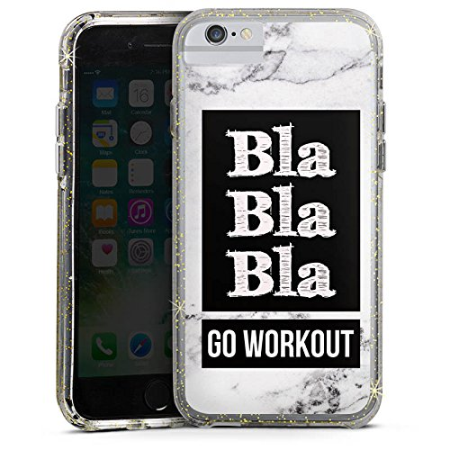Apple iPhone 7 Bumper Hülle Bumper Case Glitzer Hülle Workout Fitness Phrase Bumper Case Glitzer gold