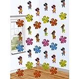 6 guirlandes Hawaï vahiné 6 x 213 cm, Motif 9 x 9 cm déco intérieure Caraïbes - guirlande Hawaï - guirlande déco - décoration soirée à thème...