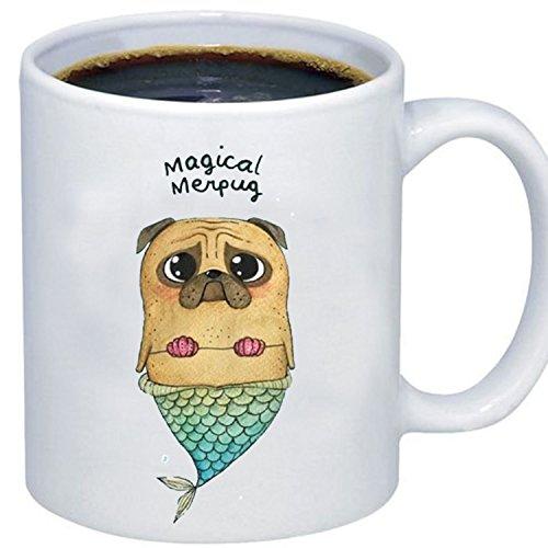 ZMvise Custom Art Magical Merpug Dog weiße keramik becher cup perfekt weihnachten thanksgiving gfit Plastic Liner Travel Mug