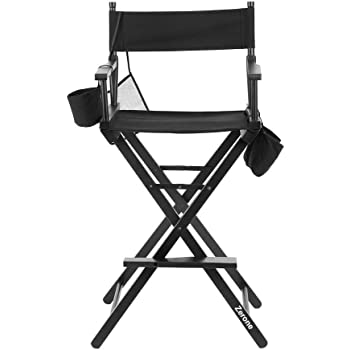 Zerone Director Chair, Black Folding Telescope Makeup Telescopic Artist Director Chair Lightweight Portable Makeup Chair
