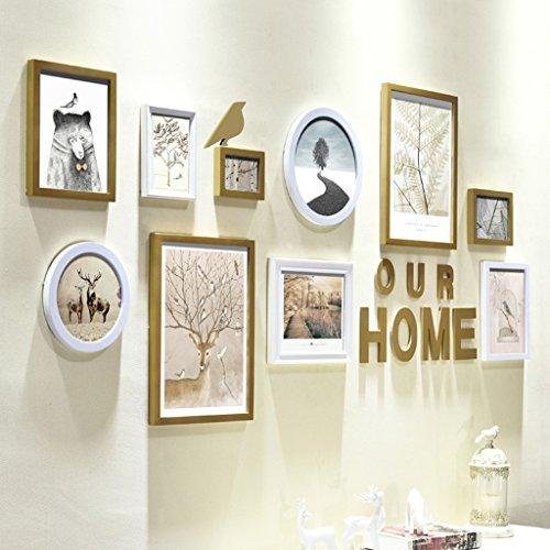 Schablonenmalerei (HDOH Fotorahmen-Wand-Galerie-Kit enthält: hängende Wand Vorlage, Rahmen, Kunst Malerei Kern (12 Packungen) ( Farbe : White+gold ))