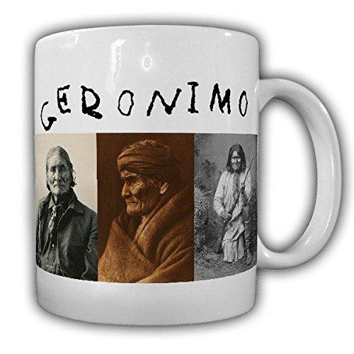 Tasse Geronimo Indianer Häuptling Bedonkohe Apache Medizinmann Amerika Gokhlayeh der Gähnende Unterschrift Western Bild#21407 -