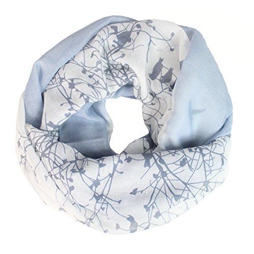 Glamexx24 Loop Schal Farbeverlauf warme und weiche Schlauchschal mit Vögel Motiv Tuch Damen 01072, Blau, Einheitsgröße