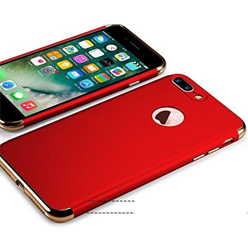 Apple iPhone 7Plus Cover adamark 3in 1Non Slip superficie antiurto Custodia Electro placcatura contatti consistenza Protector Disk Cover per Apple Iphone 7Plus Custodia Rigida Case Cover, nero rosso