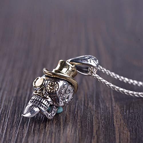 Vintage S 925 In Silber Halskette Frauen Männer Einfach Ethnischen Stil Schnurrbart Skull Anhänger Fashion Kreative Geschenk Persönlichkeit Trend