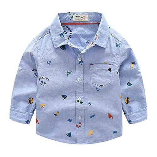 Weentop Jungen Langarm gedruckt Feste Button-Down Oxford Shirt Outfit Kleidung für Kinder Kleine Jungen (Farbe : Blau, Größe : 130) -