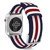 MoKo Armband Kompatibel für Apple Watch Series 5/4 / 3/2 / 1 38mm, Nylon Strick Replacement Uhrenarmband Sportarmband Band Ersatzband mit Schließe, Blau/Rot/Weiß
