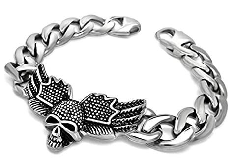 AMDXD Jewelry Stainless Steel Men Armand Skull Head Art Link