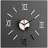 reloj de pared 3d con números adhesivos diy bricolaje moderno decoración adorno para hogar y oficina etiqueta de pegatina de pared desmontable acrílico reloj decorativo espejo 3d de Sannysis (plata)