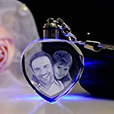 #7: Gondget Customized 2D Crystal Heart Keychain with Light - Friendship Day Gift
