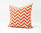 CrownLiny Home Decorative Canvas Pillow Cover Case Orange White Zig-zag Printed Throw Pillows Cushion Case (18