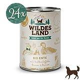 Wildes Land | Nassfutter für Hunde | Bio Ente | 24 x 400 g | Getreidefrei & Hypoallergen | Extra hoher Fleischanteil von 60% | 100% zertifizierte Bio-Zutaten Akzeptanz und Verträglichkeit