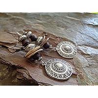 ✿ CONCHIGLIA ORECCHINI ETHNO MANDALA IN LEGNO DI MADREPERLA ✿ orecchini in materiale naturale marrone beige - regalo…