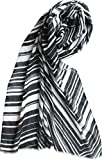 Hoi Polloi Monochrome Zig-Zag Winter Scarf/Stole For Women - Black & White