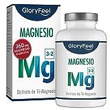 GloryFeel Citrato de Magnesio - 360 mg Magnesio Elemental - 200 Cápsulas - Función...