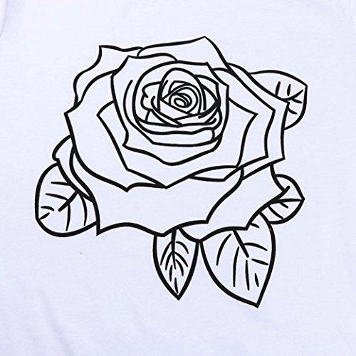 AmazingDays Femme Chemisiers T-Shirts Tops Sweats Blouses Chemise à Manches Courtes Imprimé Chemisier Tops T-Shirt white