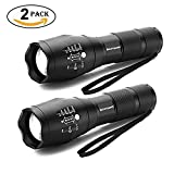 LED Torch, Binwo Super Bright 2000 Lumen Zoomable CREE LED Flashlight, XML2 T6 Adjustable Focus Tactical Flashlight with 5 Modes, Waterproof Handheld Mini Torch for Hiking, Cycling, Camping and other Outdoor Sports (2 PACK)