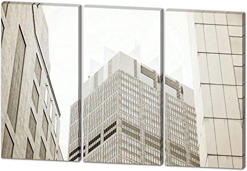 Skyline, Gemälde Effekt, schönes und hochwertiges Leinwandbild zum Aufhängen in XXL - 3 Teiler mit 120cm x 80cm, echter Holzrahmen, effektiver Pigmentdruck, modernes Design für Ihr Büro oder Zimmer