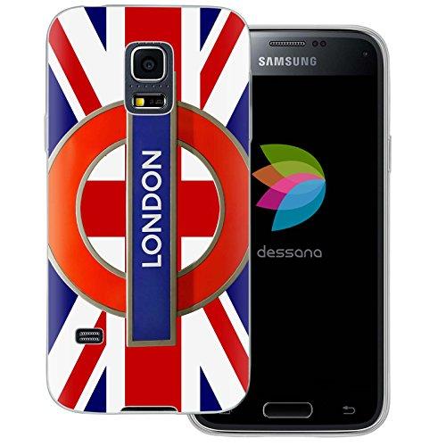 dessana London Muster Transparente Silikon TPU Schutzhülle 0,7mm Dünne Handy Tasche Soft Case für Samsung Galaxy S5 Mini London Sign (Galaxy Samsung London Case S5)