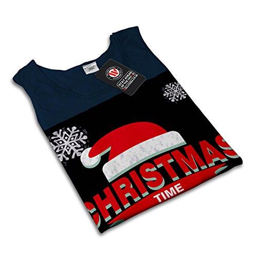 Weihnachten Stimmung Hut Festlich Schnee Damen Schwarz S-2XL Muskelshirt | Wellcoda Marine