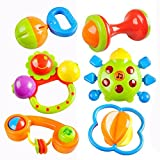 Cisixin Set de 6 Pezzi Giocattoli Sonagli Shake Rattle per Neonati Bambini