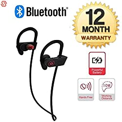 Supreno Wireless Bluetooth Jogger QC-10 Headphones with Mic for Running, Sweatproof Earphones,Noise Cancelling Headsets