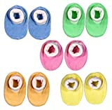 Brim hugs & cuddles mulitcolour born baby shoes/ booties for baby girl and booties for baby boy (PACK OF 5 PAIRS)