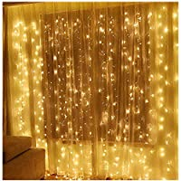 Twinkle Star 600 LED Window Curtain String Lights Ramadan Gift Wedding Party Garden Bedroom Indoor Outdoor Wall Decoration (Warm White)