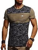 LEIF NELSON Herren T-Shirt Rundhals Ausschnit Sweatshirt Longsleeve Basic Shirt Hoodie Slim Fit LN405; XXL,Khaki-Schwarz