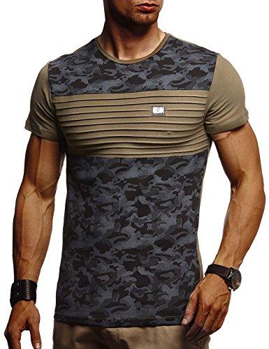 LEIF NELSON Herren Sommer T-Shirt Rundhals-Ausschnitt Slim Fit Baumwolle-Anteil | Moderner Männer T-Shirt Crew Neck Hoodie-Sweatshirt Kurzarm lang | LN405 Khaki-Schwarz Medium Crew Print Sweatshirt