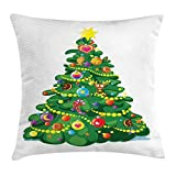 BUZRL Christmas Throw Pillow Cushion Cover, Children Cartoon Drawing Style Xmas Tree with Funny Aspects Cookies Hearts Stars, Decorative Square Accent Pillow Case, 18 X 18 Inches, Multicolor