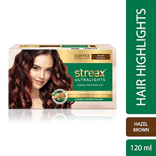 Streax Ultralights Highlighting Kit for Women & Men | Contains Walnut & Argan Oil | Shine On Conditioner | Longer Lasting Highlights | Coffee Collection - Hazel Brown | 120 ml