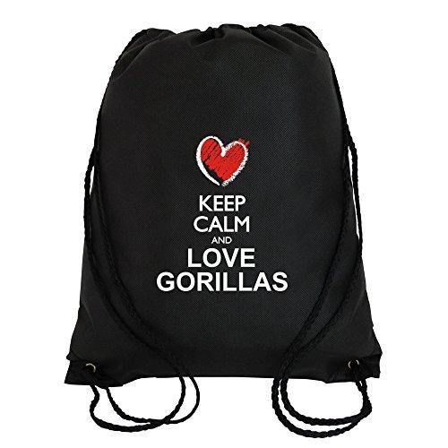 Idakoos Keep calm and love Gorillas chalk style - Tiere - Turnbeutel - Gorilla Chalk Bag