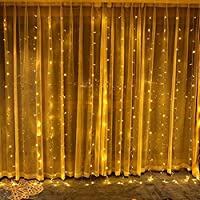 300 LED Curtain Lights, 3mx3m USB Plug in Window Fairy String Lights with 8 Modes Remote Control Timer Waterproof Copper Light for Outdoor Indoor Wedding Party Garden Bedroom Decoration (Yellow)