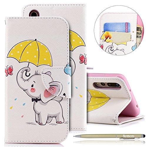 Kompatibel mit Leder Handyhülle Huawei P20 Pro Handytasche Bunt Muster Bookstyle Tasche Bookstyle Flip Case Cover Klappbar Lederhülle Kartenfach mit Standfunktion,Niedlich Elefant