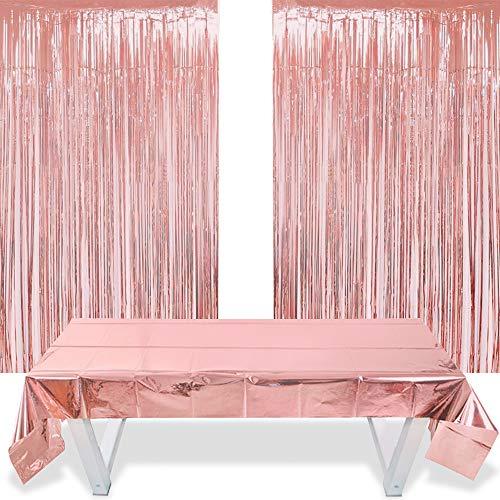 2 Cortinas Flecos Oro Rosa 1 Funda Papel Aluminio